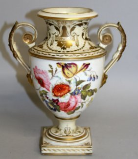 103. A Derby Two Handled Shield Shaped Vase Painted