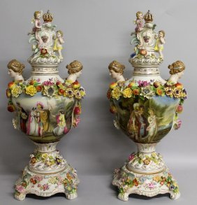 "136. A Good Pair Of ""dresden"" Vases, Covers And"