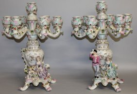 "160. A Large Pair Of ""dresden"" Porcelain Five Branch"