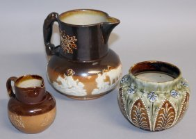 172. Two Royal Doulton Stoneware Jugs, 4ins And 3ins