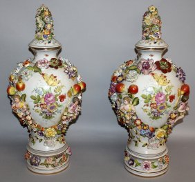 "184. A Good Pair Of ""dresden"" Vases, Covers And"