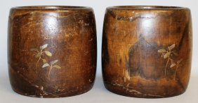 249. A Pair Of Japanese Wooden Jardinieres.