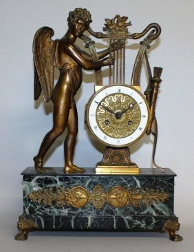 318. A Good French Empire Drum Mantle Clock With