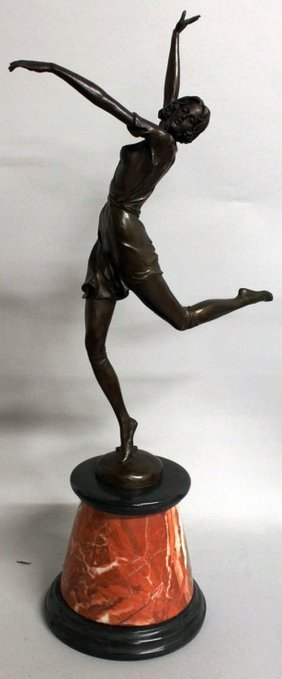 337. An Art Deco Style Bronze Figure Of A Female