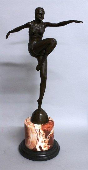 349. An Art Deco Style Bronze Of A Female Dancer,