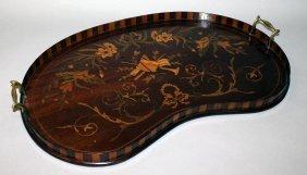 373. A Good Mahogany Inlaid Kidney Shaped Tea Tray
