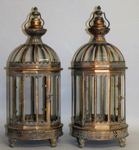397. A Good Pair Of Copper Metal Circular Lanterns