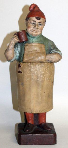 433. An Austrian Terracotta Tobacco Jar, Head, Body