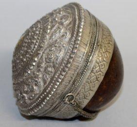 439. A Rare Silver Islamic Ointment Pot. 3.5ins.