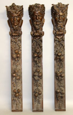 442. A Set Of Three Carved Oak Long Panels In The