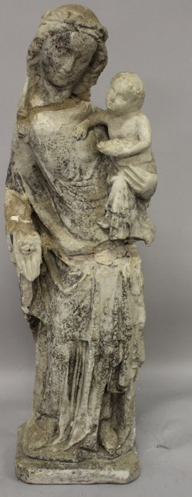 445. An Early 15th-16th Century Carved Stone Madonna