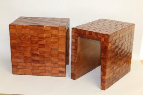 509. A Pair Of Woven Leather Coffee Tables. 1ft 4ins