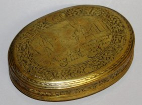 588. A Georgian Engraved Oval Brass Tobacco Box.