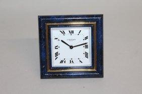 606. A Cartier Paris Lapis Lazuli Square Alarm Clock.