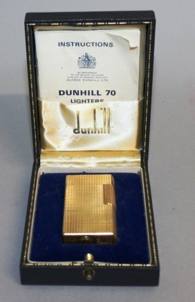 659. A Dunhill 70 Gold Coloured Gas Lighter, No.