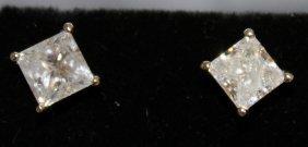 700. A Good Pair Of 18ct White Gold Princess Cut