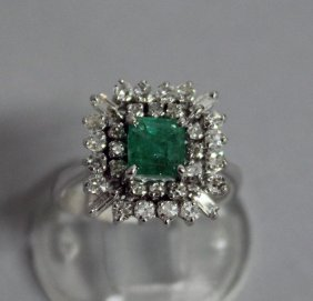 727. A Very Good Emerald And Diamond Square Cluster