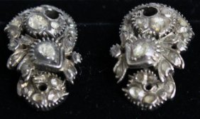 742. A Pair Of 18ct White Gold And Diamond Ear Clips.