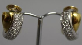 757. A Good Pair Of Gold And Diamond Set Ear Clips.