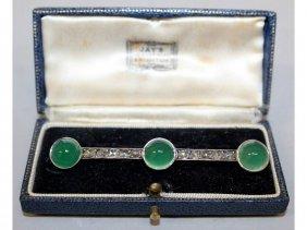 760. A Rose Diamond And Green Cabochon Chrysoprase Bar