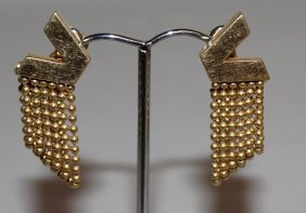 775. A Pair Of 18ct Yellow Gold Versace Earrings.