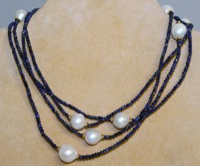 835. A Long Lapis Lazuli And Freshwater Pearl
