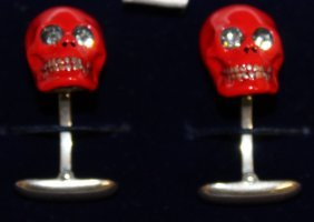 850. A Pair Red Enamel And Sterling Silver Cufflinks,