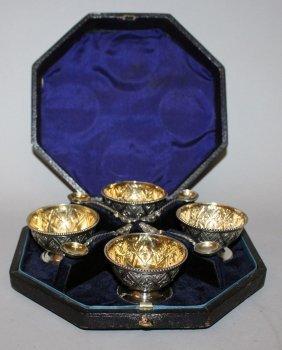 915. A Set Of Four Victorian Circular Salts And