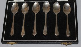 942. A Set Of Six Small Coffee Spoons, In A Case.