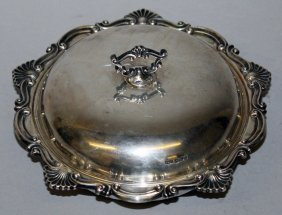 972. A Circular Butter Dish, Glass Liner And Cover,