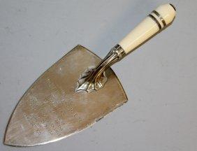 1005 An Ivory Handled Presentation Silver Trowel,