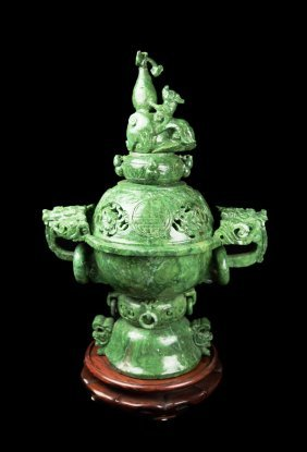 A Chinese Spinach Jade Incense Burner With Carving Of