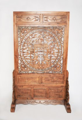 A Chinese Fregrent Camphor Wood Standing Screen Carved