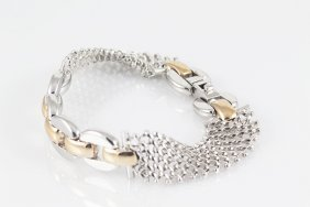 "14k 7"" Italian Gold Chain Bracelet W/ A Mesh Design"