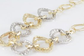 """14k Two-tone Italian Link Chain 16"""" Necklace"""