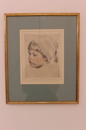 Young Child Male Framed & Pencil Signed By Schalbin