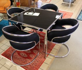 Chrome & Glass Baughman Dining Table & Chairs