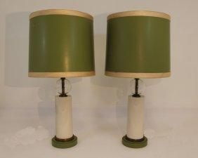Pair Of Green Paul Hansen Lamps