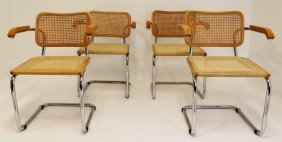 Marcel Breuer Bentwood & Cane Set Of 4 Chairs
