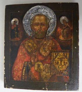 Early 19th C Russian Icon Silver Riza
