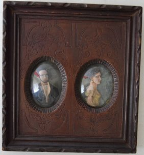Early 19th C. Two American Polychrome Wax Portraits