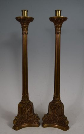 Pair Of Large 19th C Bronze Candlesticks