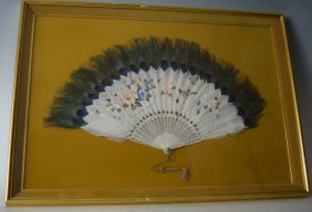 European 19th C. Composite Peacock Hand Painted Fan