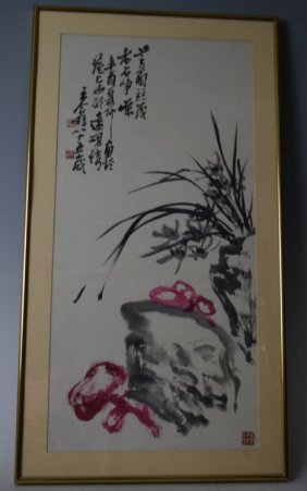 Chinese Scroll Paintings With Calligraphy