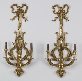 "(2) Neoclassical Style Gilt Bronze Sconces, 30""h"