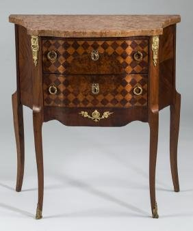 Petite Parquetry Inlaid Marble Top Side Chest