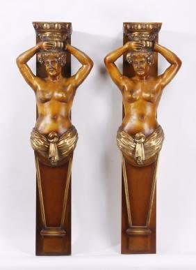 "Pair Of Carved Term Figure Pilasters, 65""h"