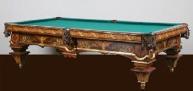 Hand Crafted Italian Inlaid Pool Table