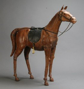 "Leather Covered Model Horse, 32"" High"