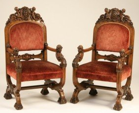 (2) 19th C. American Carved Walnut Arm Chairs